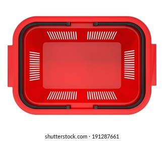 Shopping basket. Isolated on white background. top view