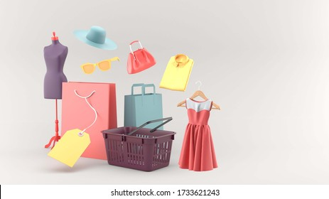 The shopping basket is surrounded by shopping bags and clothes on a gray background. - 3d rendering.