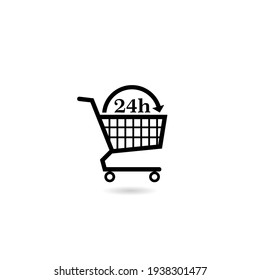 Shopping Cart 24 h icon with shadow