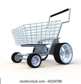 Shopping cart. 3d illustration isolated on white background.