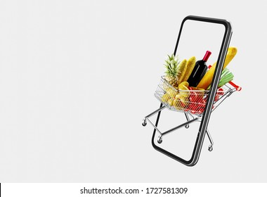 Shopping cart app delivery food service background concept. 3D illustration.
