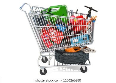 Shopping cart with car tools, equipment and accessories. 3D rendering isolated on white background