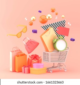 A shopping cart carrying shopping bags and clocks surrounded by shopping bags and gift boxes on a pink background.-3d rendering.