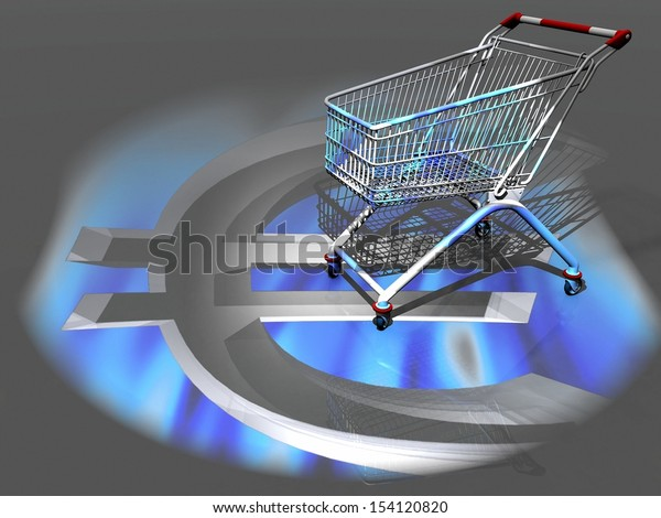 the shopping cart and the euro  symbol