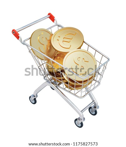 Shopping Cart with Euros and Dollars isolated on White Background. 3D illustration