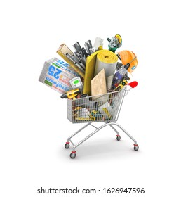 shopping cart with heap of building materials, 3d illustration