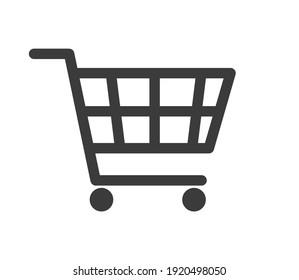 Shopping cart icon, flat design. Isolated on white background