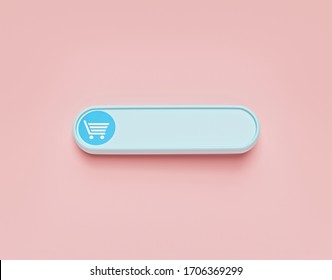 Shopping Cart icon. shop online button. space for text. minimal design. 3d rendering