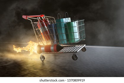 Shopping cart with jetpack engine (3D Rendering)