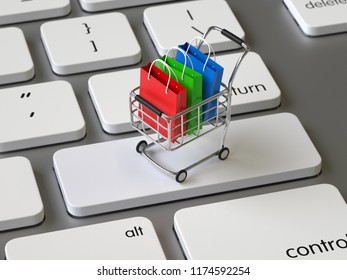 Shopping Cart on the keyboard, 3d rendering,conceptual image.