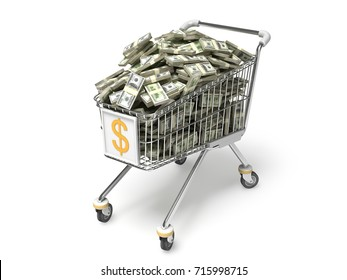 Shopping Cart and One hundred dollars bills