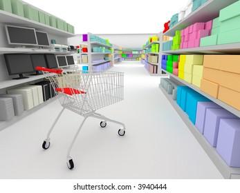 shopping cart standing between shelves in the supermarket