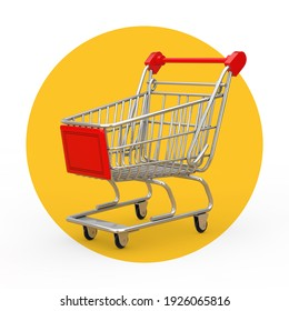 Shopping Cart Trolley on a white and yellow background. 3d Rendering