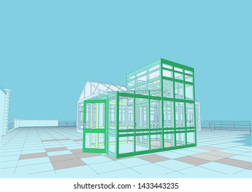Shopping Center, Food_Market- supermarket and cafes, roof, facades, elevator,three-dimensional views. 3d, cad, realistic. Illustration.