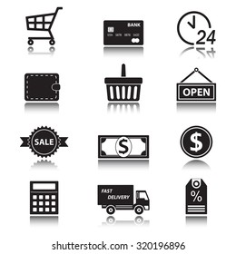 Shopping and finance icon set on white background. Symbols for supermarket and commerce with reflection.