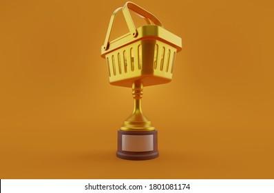 Shopping golden trophy on orange background. 3d illustration