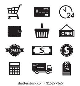 Shopping icon set on white background. Symbols for supermarket and commerce.