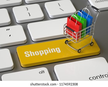 Shopping key on the keyboard, 3d rendering,conceptual image.