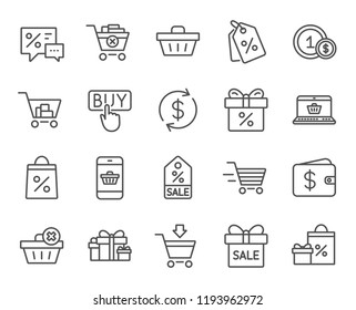 Shopping line icons. Gifts, Presents and Sale offer signs. Shopping cart, Delivery and Tags symbols. Speech bubble, Discounts and Wallet. Online buying. Quality design discounts. Classic style.