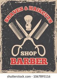 Shopping logo in retro style. Barbershop poster salon, barber shop vintage, illustration