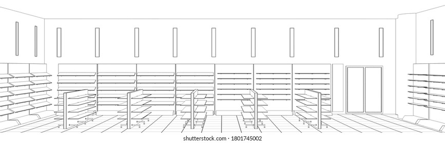 shopping mall, contour visualization, 3D illustration, sketch, outline