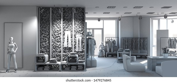 shopping mall, interior visualization, 3D illustration