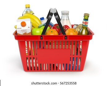 Shopping market basket with variety of grocery products isolated on white background. 3d illustration