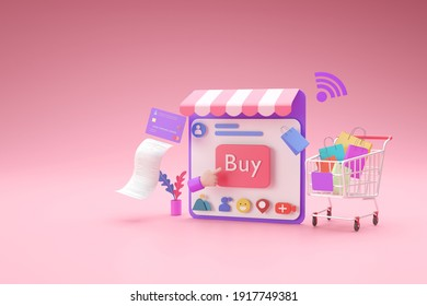 Shopping online store with social media application concept, ,3d render
