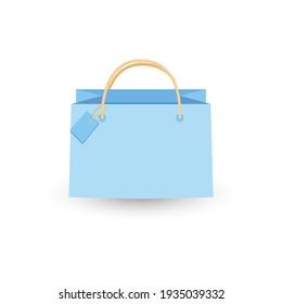 Shopping paper bag empty,  illustration isolated on white background.