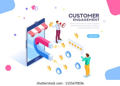 Shopping process of customer. Infographic of Seo on a smartphone. Purchase on website campaign a message to engagement for a like or a star. Review of search content. Isometric flat
