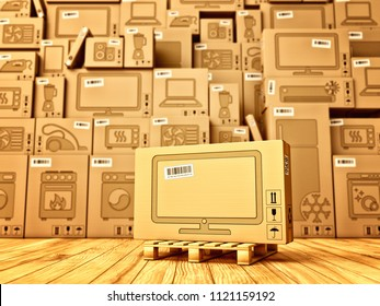 Shopping, purchase and delivery concept, box with a tv icon on the background of a cardboard boxes with household appliances and electronics in the warehouse, 3d illustration