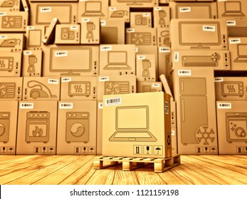 Shopping, purchase and delivery concept, box with a laptop icon on the background of a cardboard boxes with household appliances and electronics in the warehouse, 3d illustration