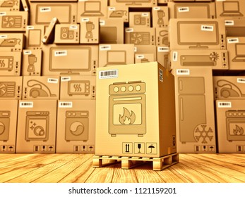Shopping, purchase and delivery concept, box with a kitchen stove icon on the background of a cardboard boxes with household appliances and electronics in the warehouse, 3d illustration