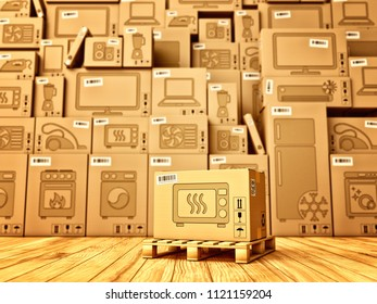 Shopping, purchase and delivery concept, box with a microwave oven icon on the background of a cardboard boxes with household appliances and electronics in the warehouse, 3d illustration