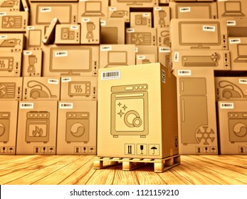 Shopping, purchase and delivery concept, box with a dishwasher icon on the background of a cardboard boxes with household appliances and electronics in the warehouse, 3d illustration