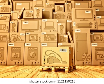 Shopping, purchase and delivery concept, box with a vacuum cleaner icon on the background of a cardboard boxes with household appliances and electronics in the warehouse, 3d illustration