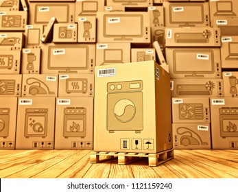Shopping, purchase and delivery concept, box with a washing machine icon on the background of a cardboard boxes with household appliances and electronics in the warehouse, 3d illustration