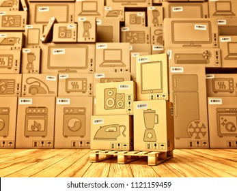 Shopping, purchase and delivery concept, box with a small appliances icon on the background of a cardboard boxes with household electronics in the warehouse, 3d illustration
