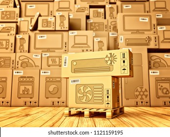 Shopping, purchase and delivery concept, boxes with an air conditioner icon on the background of a cardboard boxes with household appliances and electronics in the warehouse, 3d illustration