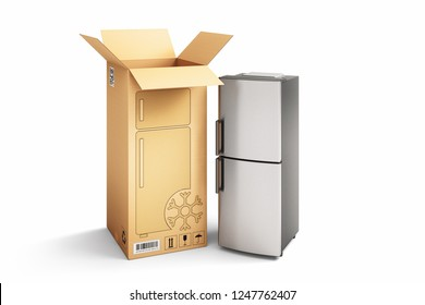 Shopping, purchase and delivery concept, cardboard box with fridge, isolated on white, 3d illustration