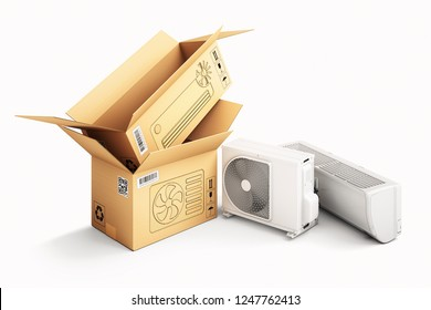 Shopping, purchase and delivery concept, cardboard box packages and air conditioner units, isolated on white, 3d illustration
