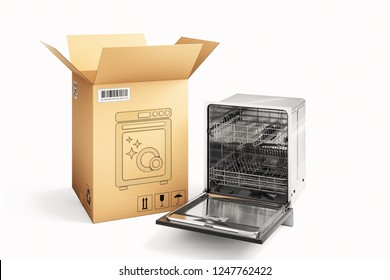 Shopping, purchase and delivery concept, cardboard box package and dishwasher machine isolated on white, 3d illustration