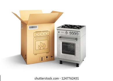 Shopping, purchase and delivery concept, cardboard box package and gas stove isolated on white, 3d illustration
