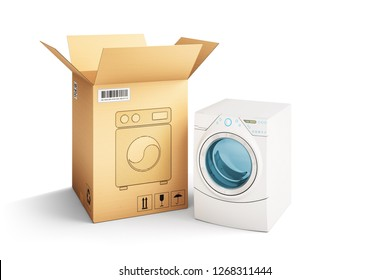 Shopping, purchase and delivery concept, cardboard box package and washing machine isolated on white, 3d illustration