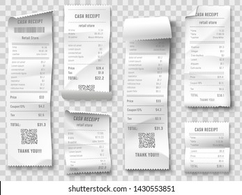 Shopping receipt. Retail store purchase receipts, supermarket invoice printing and purchasing bill. Shopping price ticket, cash check or financial tax blank. Isolated icons collection