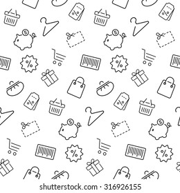 Shopping seamless pattern,background in thin line style