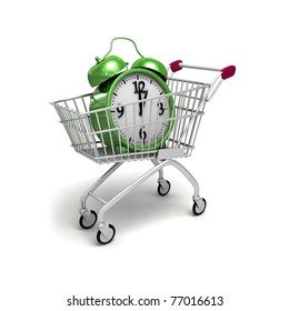 Shopping trolley and green alarm.