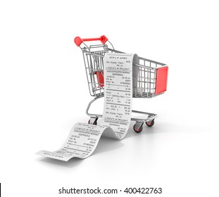 Shopping Trolley With long Receipts Over White Background. 3d illustration.