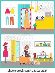 Shopping women in stores buying clothes raster. Lady sitting on chair trying shoes with heels, dress and sweaters. Counter with jewelry accessories