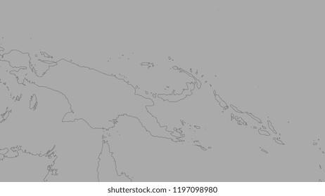 Shoreline of areas adjacent to the South Bismarck tectonic plate. Van der Grinten I projection (oblique transformation)